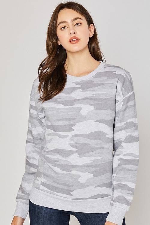 Basic Camo Crew Neck Pullover Light Grey
