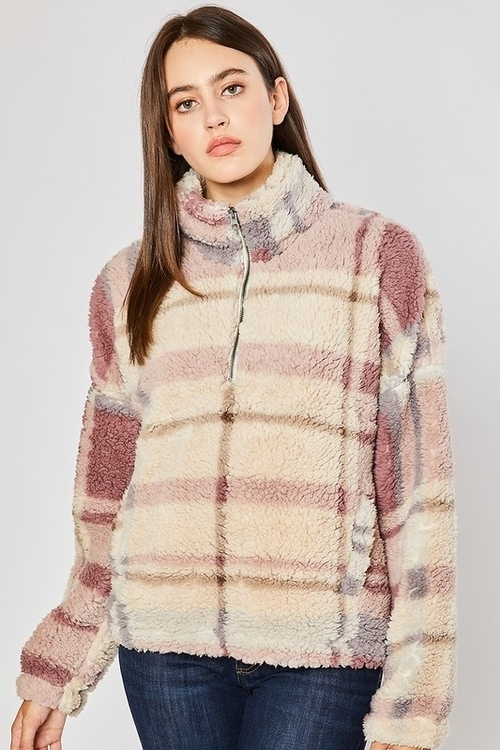 Sherpa Plaid Zip Up Pullover Ivory