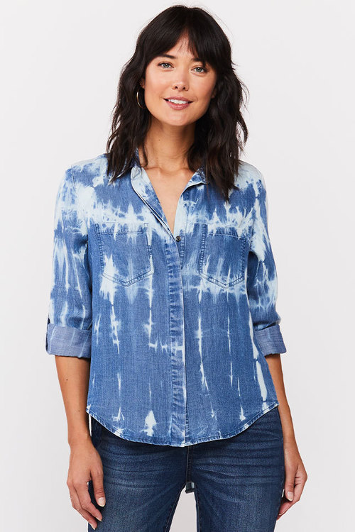 Riley Roll Tab Sleeve Top Indigo