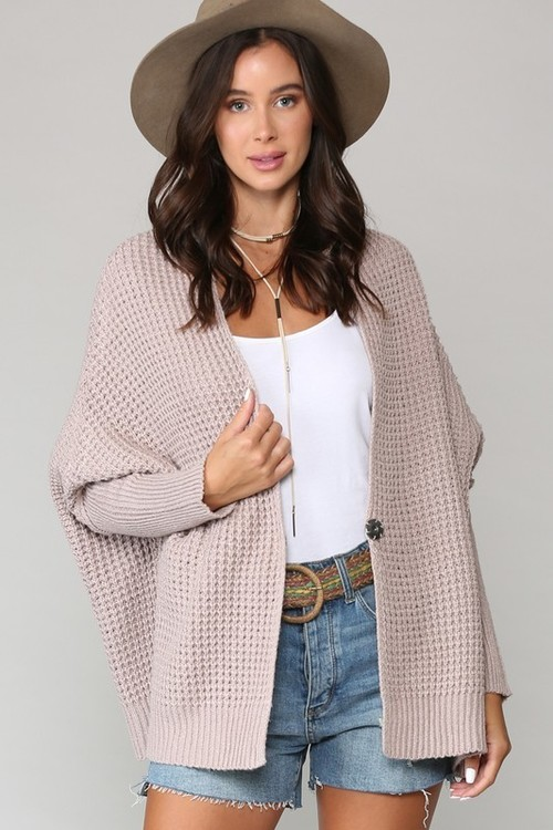 Waffle Stitch Open Front Cardigan Champagne