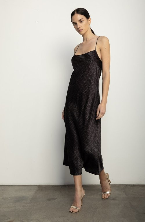 Black Croc Slip Dress