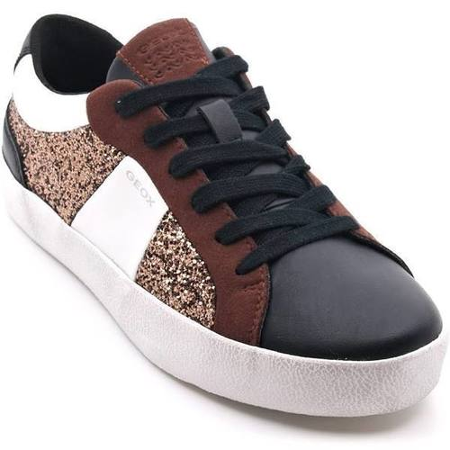 Black and Brown Glitter Leather Tennis Shoe