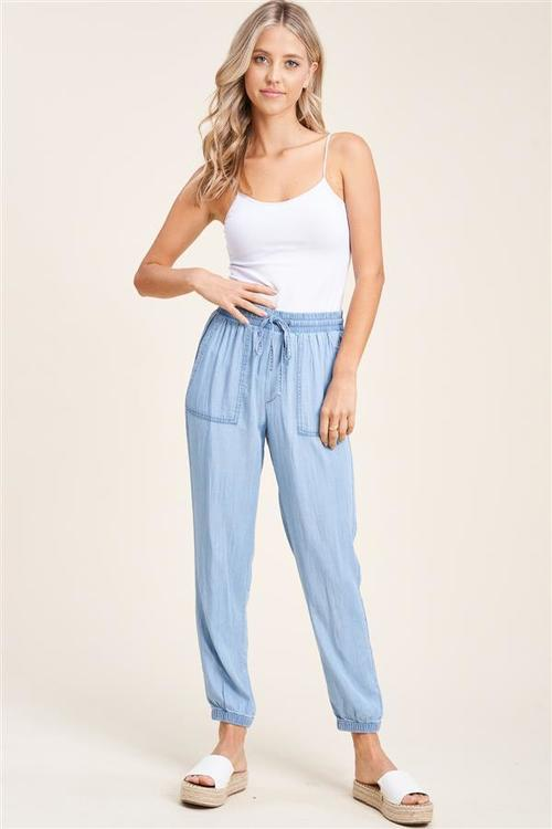 Denim Elastic Drawstring Pant W/ Pockets Denim