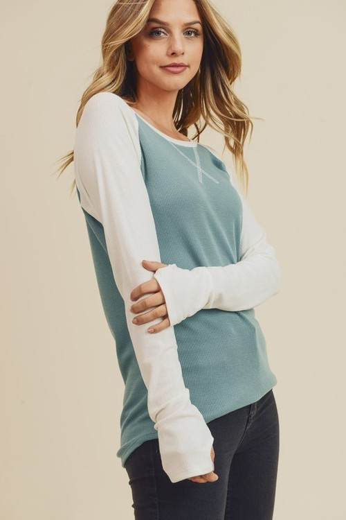 Solid Thermo Raglan Top Teal/Ivory