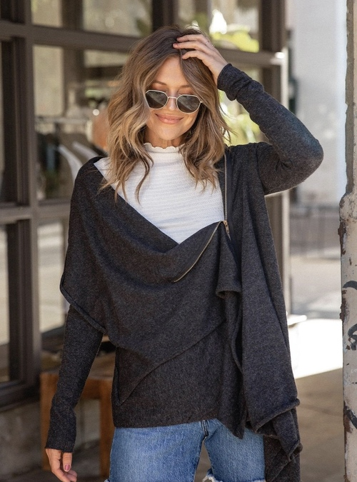 Asymmetrical Zip Cardigan Charcoal