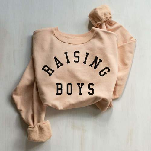Raising Boys Pullover Peach