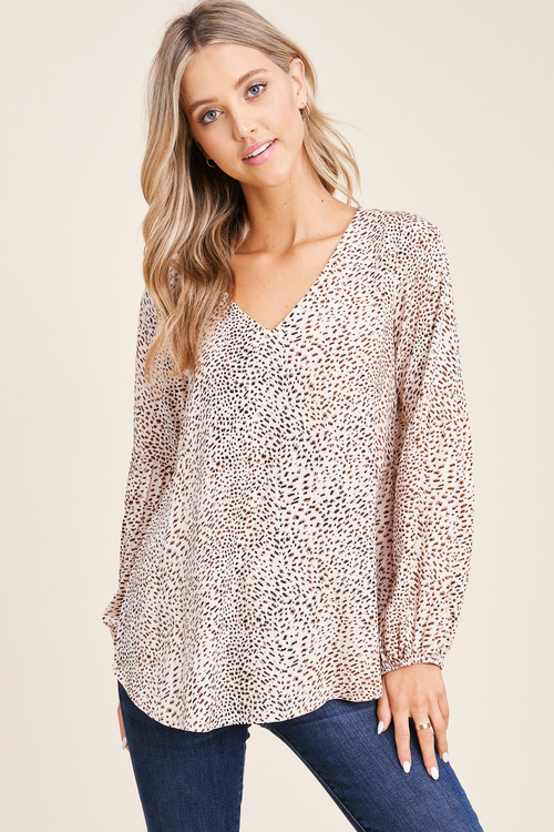 Leopard Print Puff Sleeve Top Taupe