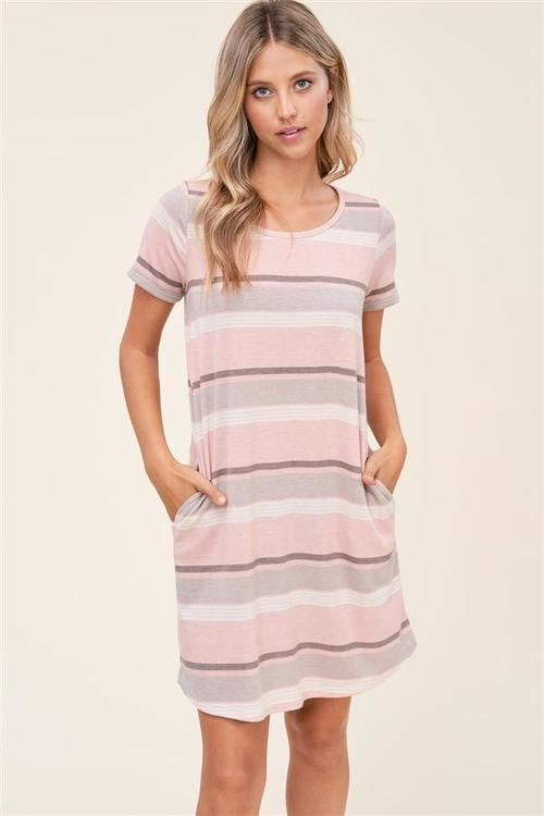 Round Neck Striped Dress Peach