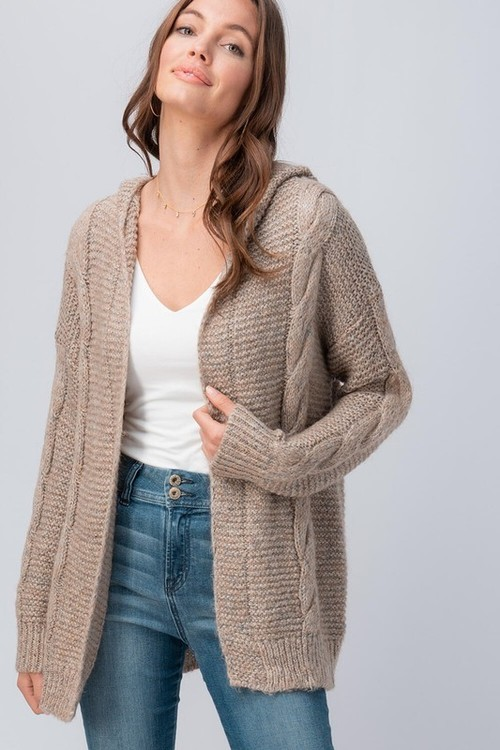 Cable Knit Hoodie Sweater Cardigan Taupe