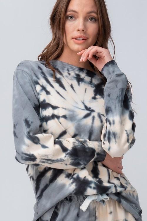 Tie Dye Swirl Sweatshirt Grey