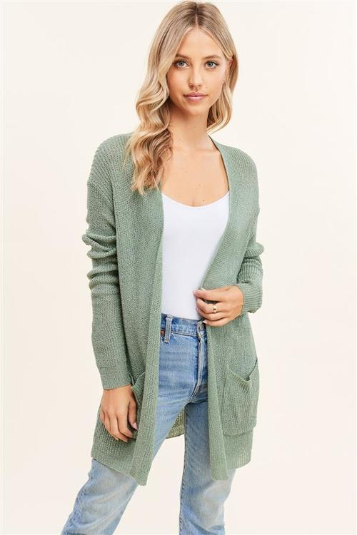 Open Front Loose Fit Cardigan Aloe
