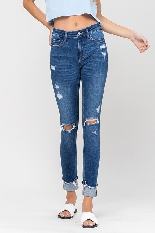 Mid Rise Cuffed Distressed Ankle Skinny