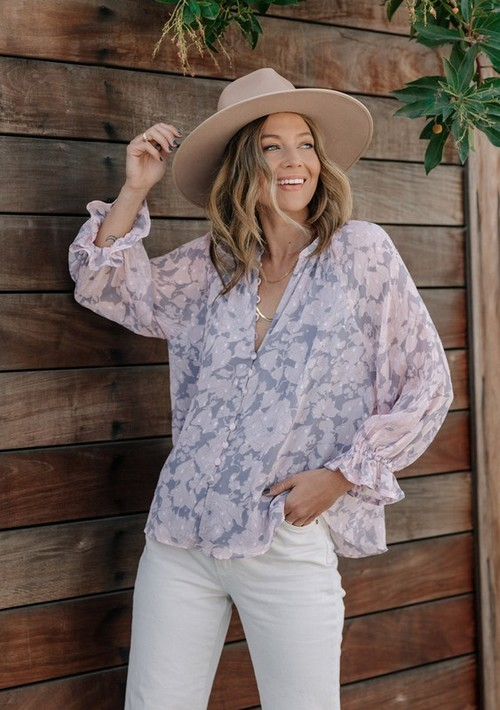 Printed Long Sleeve Button Up Blouse Grey/Blush