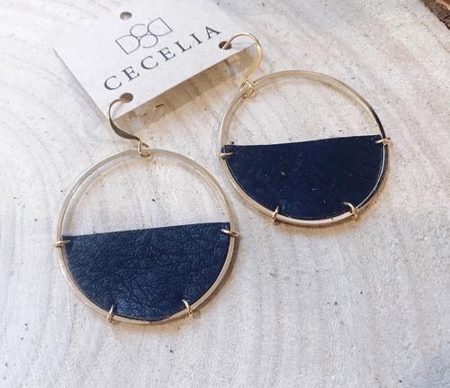 Cecelia Half Moon Natural Black Leather Earring