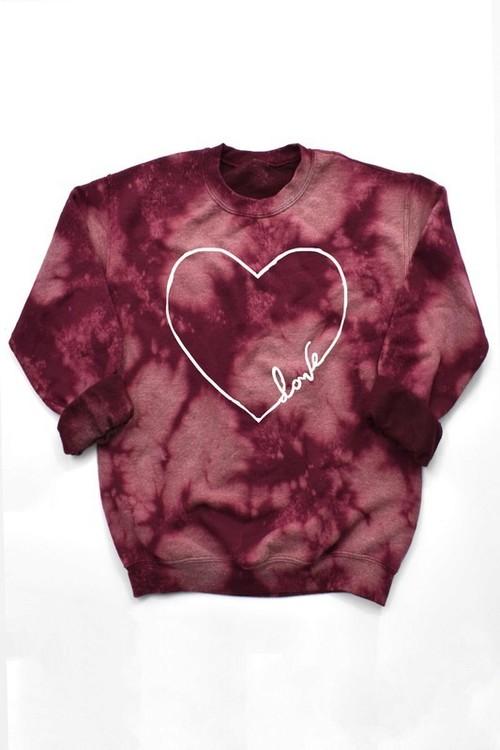 Love Heart Graphic Sweatshirt Burgundy