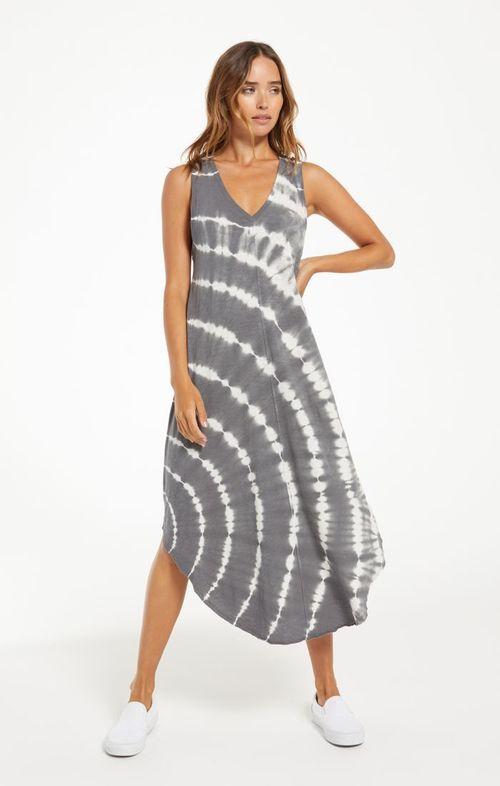 Reverie Spiral Tie Dye Dress Charcoal