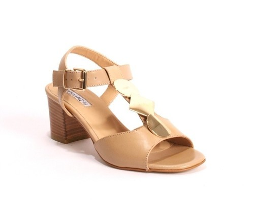 Comfort Beige Leather Heel Ankle T-Strap Sandals