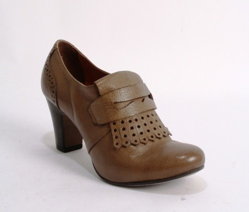 Brown Leather Tooled / Fringe Trim Penny Loafers