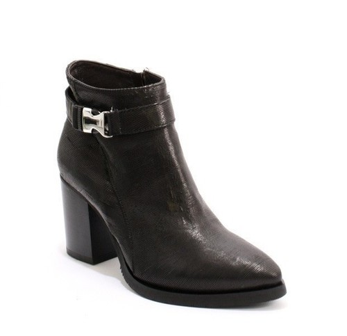 Black Leather Buckle Pointy Toe Ankle Boots