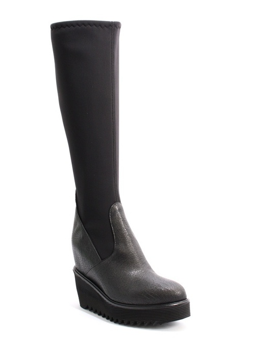 Black Leather Elastic Zip Hidden Wedge Boots