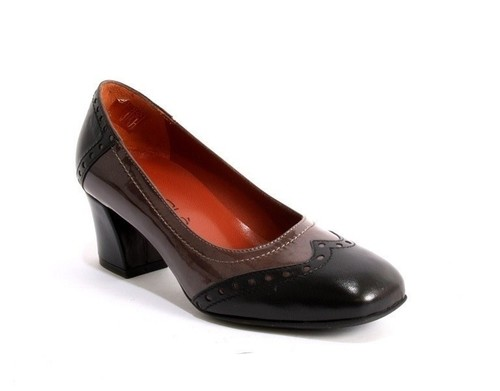 Black Leather / Gray Patent Leather Tooled Trim Pumps
