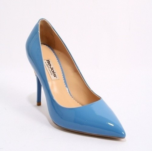 Blue Grey Pointy Patent Leather Shoe