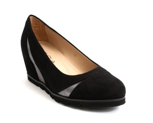 Black Suede / Pewter Rounded / Hidden Wedge Pumps