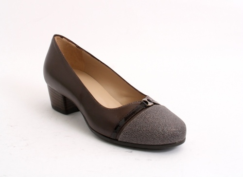 Brown Leather / Patent Comfort Walking Shoes