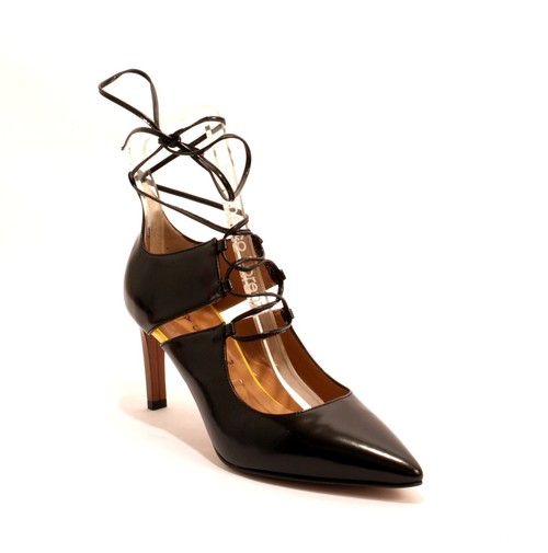 Black / Yellow / Brown Leather Pointy Heels Sandals