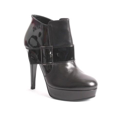 Black Leather / Patent Platform Buckle Zip-Up Ankle Boots