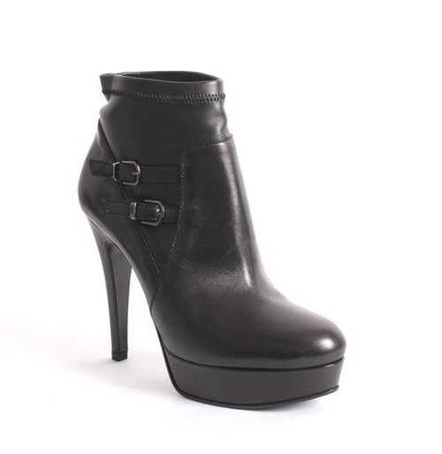 Black Leather Stretch Platform Buckles Pull-On Ankle Boots