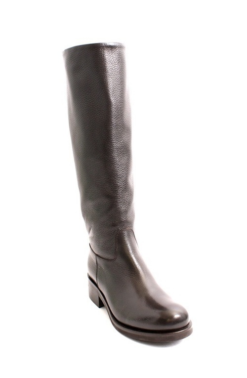 Brown Pebbled Leather Knee-High Riding Boots
