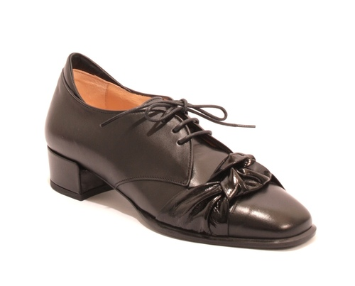 Black Leather / Patent Leather Lace-Up Casual Loafers