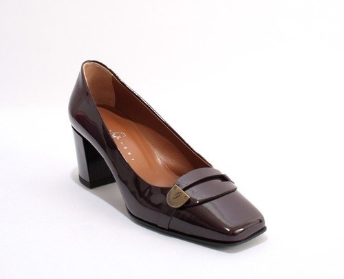 Burgundy Patent Leather Square Toe Buckle Pumps