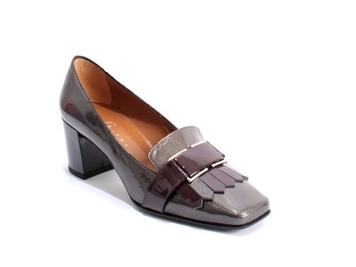 Grey / Burgundy Patent Leather Square Toe Pumps