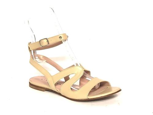 Beige Leather Studded Amazon Gladiators