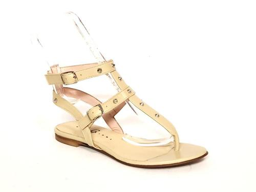 Beige Leather Studded Thong Amazon Gladiators