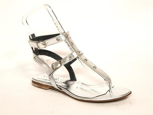 Silver Leather Studded Thong Amazon Gladiators