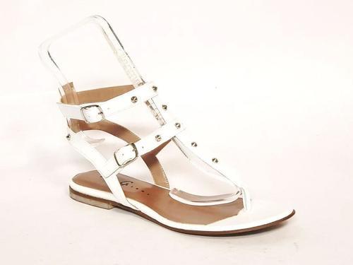 White Leather Studded Thong Amazon Gladiators