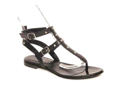 Black Leather Studded Thong Amazon Gladiators