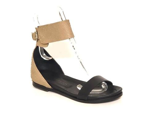 Black / Taupe Leather Ankle Strap Sandals