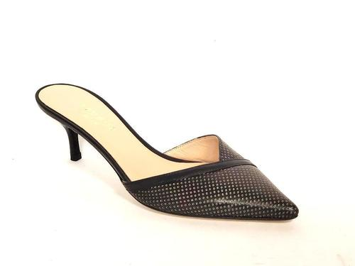 Black Perforated Leather Pointy Slide Sandals