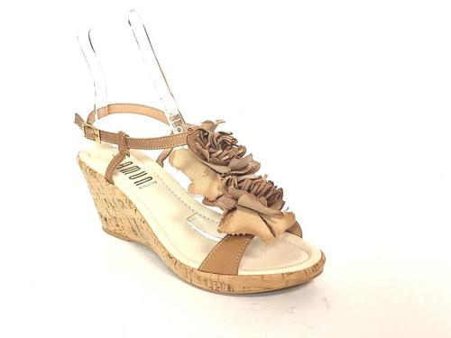 Leather T-Strap Cork Wedge Sandals