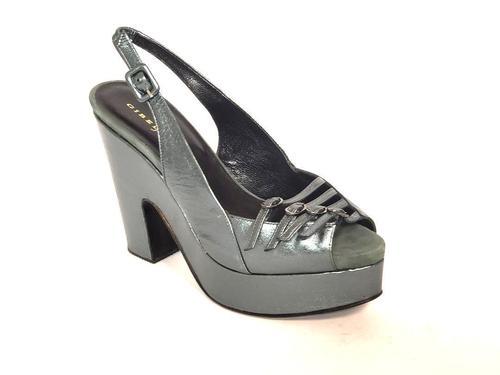 Metallic Green Leather Platform Sandals