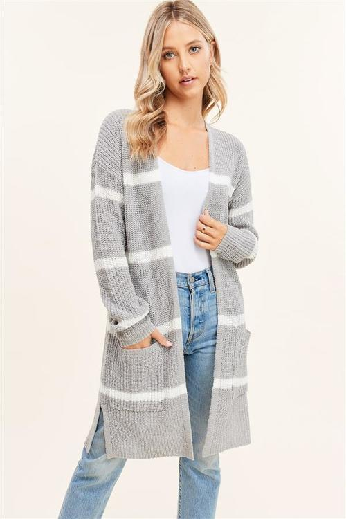 Open Front Light Weight Stripe Cardigan Grey/Ivory
