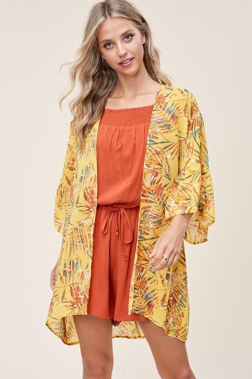 Floral Kimono Cardigan Yellow
