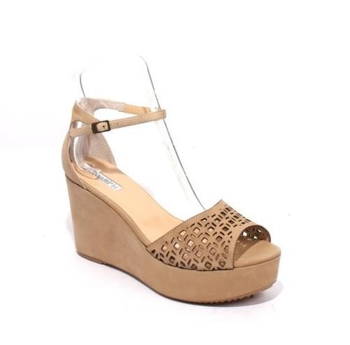 Beige Leather Ankle Strap Platform Sandals