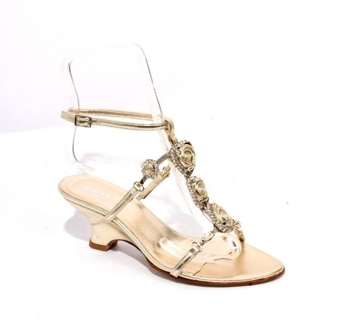 Gold T-strap Wedge Sandals
