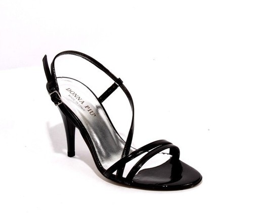 Black Patent Leather Strappy Sandals