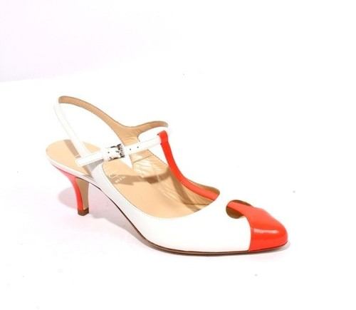 White / Orange Patent Leather Sandals